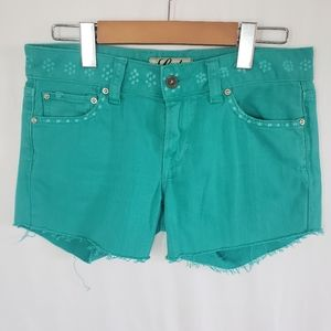 Lucky Brand stamped cut off jean shorts teal? 4